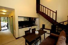 Дуплекс, гостиная и кухня